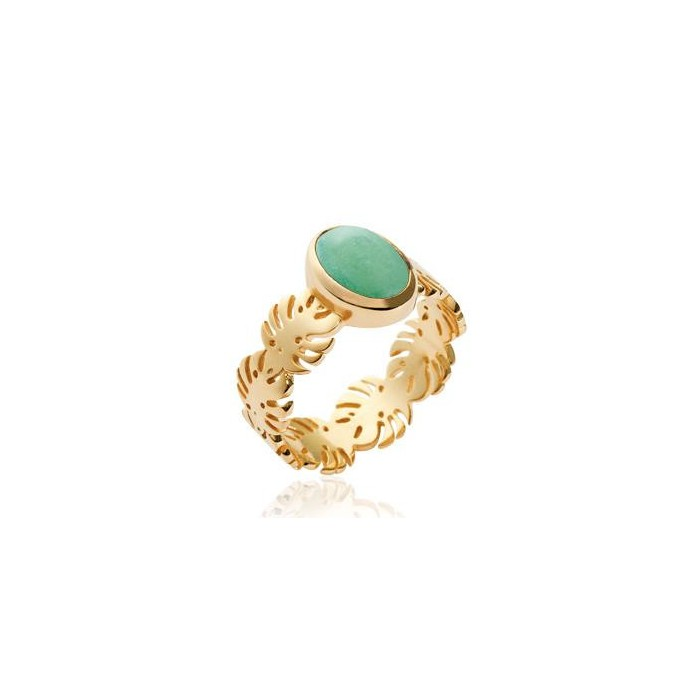 Tropical Leaves Aventurine - Gold-Plated Ring