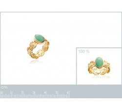 Tropical Leaves Aventurine - Gold-Plated Ring-alt