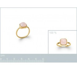 Cabochon Rose Quartz - Gold-Plated Ring-alt