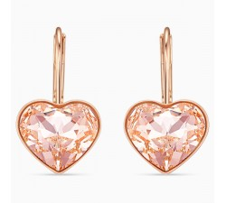 Bella Heart - Pink Rose-Gold - Earrings - Swarovski