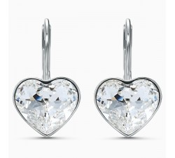 Bella Heart - White Silver - Earrings - Swarovski
