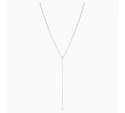 Attract Soul - White Rose-Gold - Y Necklace - Swarovski