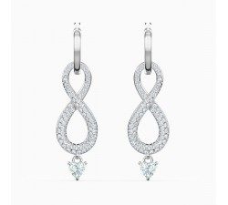 Infinity - White Silver - Earrings - Swarovski