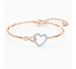 Infinity Heart - White Mixed Metal - Bangle - Swarovski