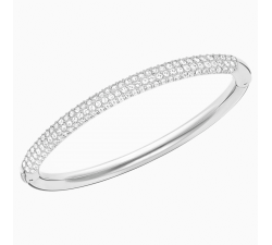 Stone - White Silver - Bangle - Swarovski