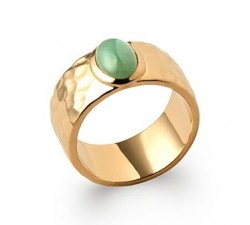 Hammered & Aventurine - Ring - Gold-Plated