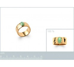 Hammered & Aventurine - Ring - Gold-Plated-alt