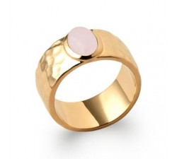 Hammered & Rose Quartz - Ring - Gold-Plated