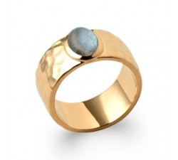 Hammered & Labradorite - Ring - Gold-Plated