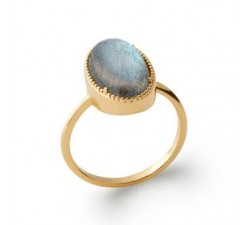 Cabochon Labradorite - Gold-Plated Ring