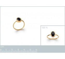 Cabochon Black Agate - Gold-Plated Ring