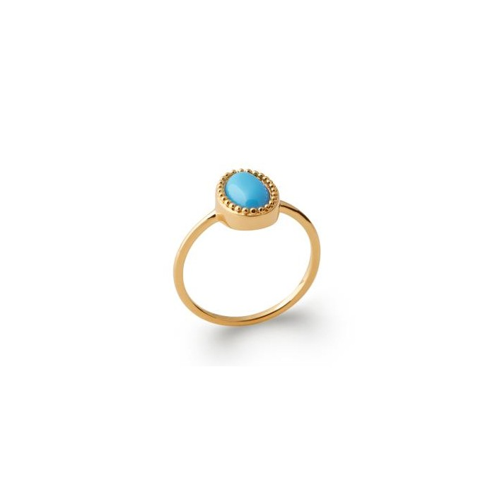 Cabochon Blue - Gold-Plated Ring