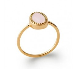 Cabochon Rose Quartz - Gold-Plated Ring