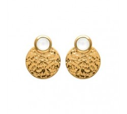Disc - Moonstone - Gold-Plated Earrings