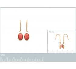Dangle Earrings - Red Stone - Gold-Plated-alt