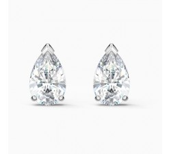 Attract Pear - White Silver - Earrings - Swarovski
