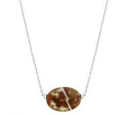 Gemstones - Serpentine - Stainless Steel Necklace