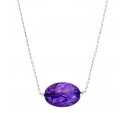 Gemstones - Purple Agate - Stainless Steel Necklace