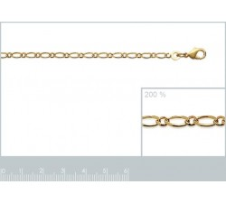Necklace - Figaro 1-1 Chain - Gold-Plated - Thin-alt