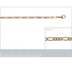 Necklace - Figaro 1-3 Chain - Gold-Plated - Thin-alt