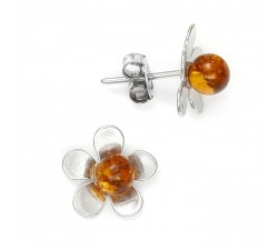 Flower - Amber & Silver - Earrings - Natalex