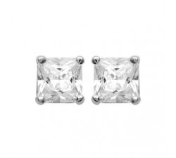 Classic Square Cubic Zirconia - White - Silver Earrings
