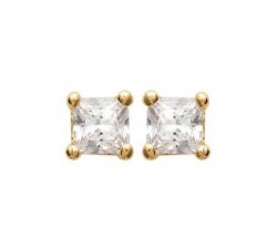 Classic Square Cubic Zirconia - White - Gold-Plated...
