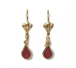 Crystal - Red - Gold-Plated Earrings