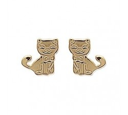 Cat - Gold-Plated Earrings