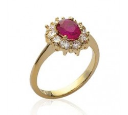 Ruby (imitation) - Gold-Plated Ring
