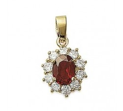 Ruby (imitation) - Gold-Plated Pendant
