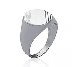 Signet - Striated - Silver Ring