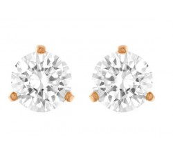 Solitaire - White Rose-Gold - Stud Earrings - Swarovski
