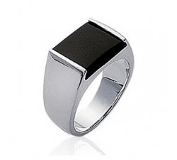 Signet - Black Rectangle - Silver Ring