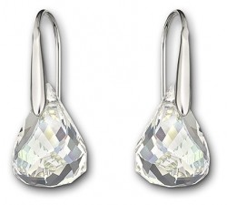 Lunar - White Silver - Hook Earrings - Swarovski