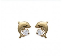 Dolphin - Gold-Plated Earrings