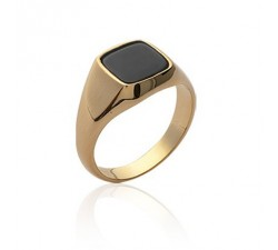 Signet - Black Square - Gold-Plated Ring