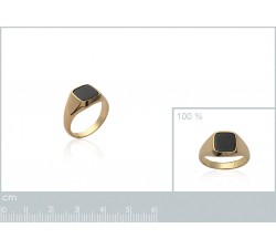 Signet - Black Square - Gold-Plated Ring-alt