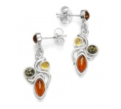 3-Color Dangling - Amber & Silver - Earrings - Natalex
