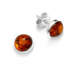 Stud - Round - Amber & Silver - Earrings - Natalex