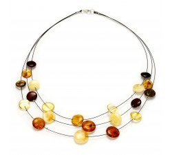 3 Rows - Amber & Silver - Necklace - Natalex