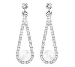 Enlace - White Silver - Earrings - Swarovski