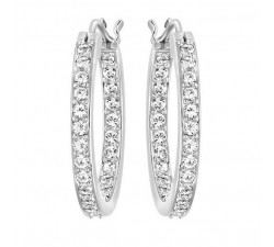 Sommerset - White Silver - Hoop Earrings - Swarovski