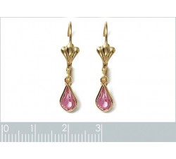 Crystal - Pink - Gold-Plated Earrings-alt