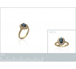 Sapphire (imitation) - Gold-Plated Ring