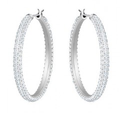 Stone - White Silver - Hoop Earrings - Swarovski