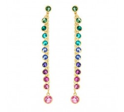Attract - Multicolored Gold - Earrings - Swarovski