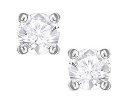 Attract Round - White Silver - Stud Earrings Mini -...