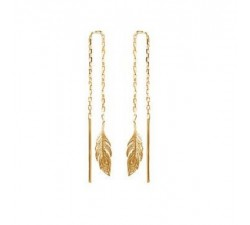 Feather - Gold-Plated Earrings