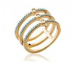 Medal Blue Triple - Gold-Plated Ring